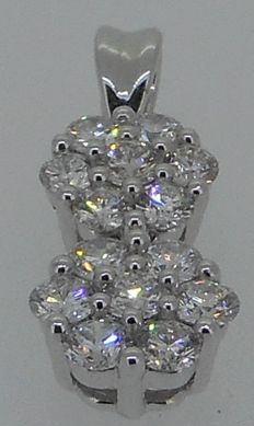 18 kt white gold pendant with brilliant cut diamonds 0.63 ct - 1,8 cm