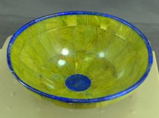 Hand-crafted bowl - premium quality Mustard green Jade and Royal blue Lapis Lazuli - 150 x 45mm -  447gm