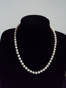 Cultured pearl choker necklace, with 18 kt gold clasp - Length: 48 cm (approx.)