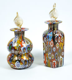 Campanella (Campanella Livio) - Pair of bottles with Murrina Millefiori and gold