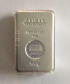 "Germany: 100 g silver bullion ""Security Line"" Güldengossa Castle"