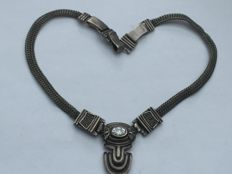 Antique necklace, genuine 850 silver, very solid with sparkling clear stone, around 1930 - 1950