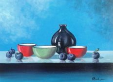 Henk Poeder (1964-) - Colourful still life, bowls and bottle
