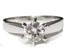 Golden Diamond Engagement Ring -14 kt white gold - 3.82 grams - 7 US size