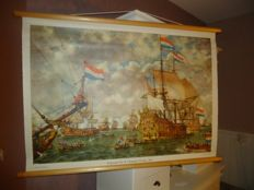 Beautiful roll-up linen school poster: Court martial for the four days sea battle