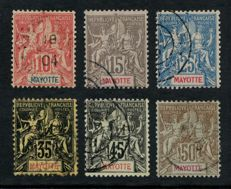 Mayotte 1900 – Complete series, cancelled – Yvert No. 15/20