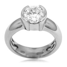 IGI certified New Unisex 2.14ct Diamond Solitair.-Hallmarked 950pt for Platinum (16.8 gram!) Ring size: 54-17-N 1/2 (UK)