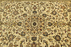 Fine Persian carpet Kashan 2.90 x 1.95 cream handwoven high quality new wool oriental carpet GREAT CONDITION
