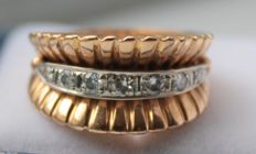 18 kt, gold ring with diamond, ring size: 18