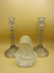 Set of etched candlesticks and etched Mary bust