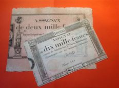France lot of two assignats of 2 000 and 10 000 Francs from the 18 Nivôse Year III - Pick A81 and A82