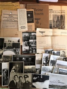 WW II Collection of 30 original 3rd Reich photos of the German Wehrmacht and many documents from World War II