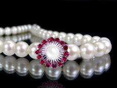 Akoya pearl necklace 7.2 -7.5 mm diameter with white gold clasp and 14 rubies