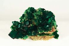 Dioptase with calcite (and duftite) Tsumeb, Namibia - 40 x 26 x 16  mm - 11.8gm