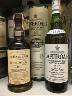 2 bottles - Balvenie DoubleWood 12 (bottled 1990s) & Laphroaig 10 years old (bottled mid-2000s)