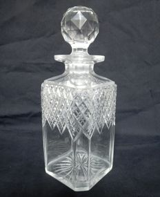 Baccarat cut crystal whisky or brandy decanter, France, ca. 1900
