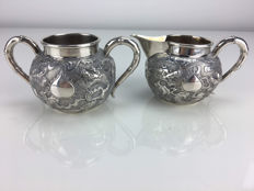 Silver cream set with dragon pattern, Wang Hing, Hong Kong, approx. 1890