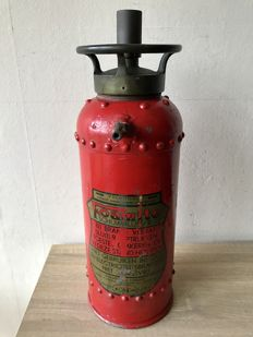 Antique handmade riveted fire extinguisher. London - 1st half 20th century