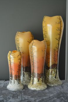 François-Théodore Legras (1839-1916) - very rare - complete set of four baluster vases in enamelled glass with a landscape decoration  with a peasant under the snow