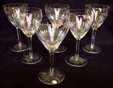 6 St. Louis small wine glasses in cut crystal, paper label, France, circa 1900