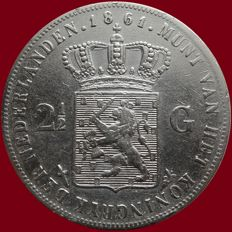 The Netherlands - 2½ Guilders 1861 a (variant with dot) William I - Silver