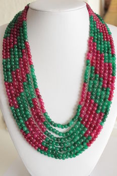 Emerald and ruby necklace on adjustable silk cord – 782 ct