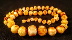 Natural white marbled colour Baltic Amber necklace, weight 37 grams