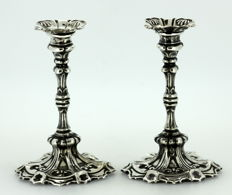 A Pair of Edward VII silver dwarf candlesticks with the mark of Jenkins & Timm, Sheffield - 1902