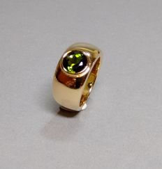 Ring made of 18 kt yellow gold with tourmaline - goldsmith's work
