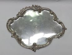 ESPUÑES. HISTORIC PIECE. Oval-shaped silver tray. Spain. 19th Century.