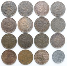 The Netherlands - 2 1/2 cents from 1894 through 1941 complete Wilhelmina (16 different).