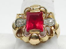 Vintage diamond & red garnet cocktail ring total: 4,15ct. - Ring size BE 58 // NL 18,25mm
