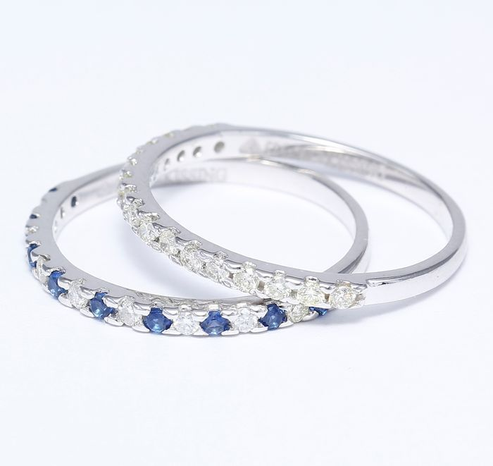 14kt White Gold set of 2 diamond and blue sapphire rings - 17 (NL) - no reserve price