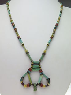 Egyptian necklace of faience beads and Bastet amulet - 58 cm