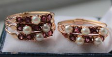 14 kt yellow gold rings set with ruby and pearl - Ring size 19 and 19.5