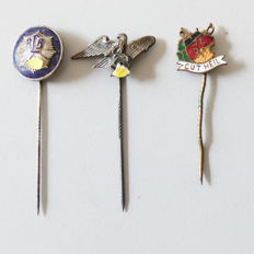 3 pins from the Second World War, German Reich with two producer