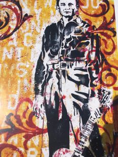"Litography- Johnny Cash (26-02-32)-(12-09-03) , "" The Man in Black "",  authentic print created and signed by  Sara Bowersock ( Art and Design)"