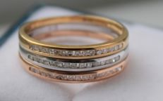 14 kt gold ring set with diamond - Ring size:  17.25.