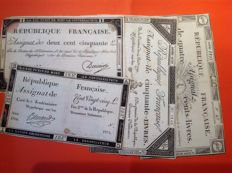 France - Lot of 4 Assignats of 50, 125, 250 and 400 pounds from various dates