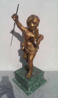 Venetian Cupid in wood and gold leaf - Italy, Venice - early 18th century