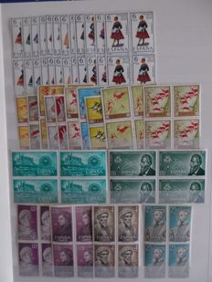 Spain 1967–1977 - complete collection of series in blocks of 4
