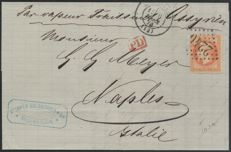 France 1870 – Napoleon Marseille letter for NAPLES by liner – Yvert No. 31