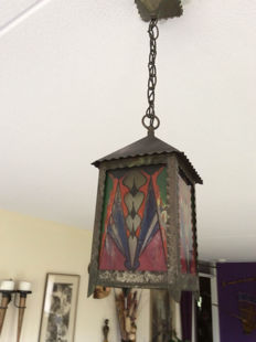 Amsterdam School hall lamp with painted glass panels
