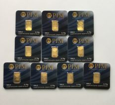 PIM-Nadir: 10 x gold bars of 0.1 gram each, sealed in a blister
