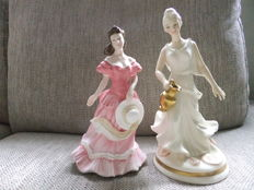 Pair of porcelain figures , Royal Doulton , Queen of the down , Amy