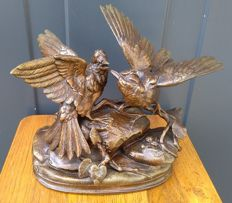 Zamak sculpture of two fighting birds - after Jules Moigniez - France - early 20th century.
