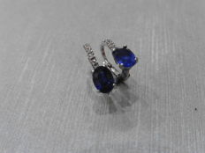 18k Sapphire and Diamond Drop Earrings
