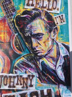 "Litography- Johnny Cash (26-02-32)-(12-09-03) , "" Hello, I'm Johnny Cash "",  authentic print created and signed by  Sara Bowersock ( Art and Design)"