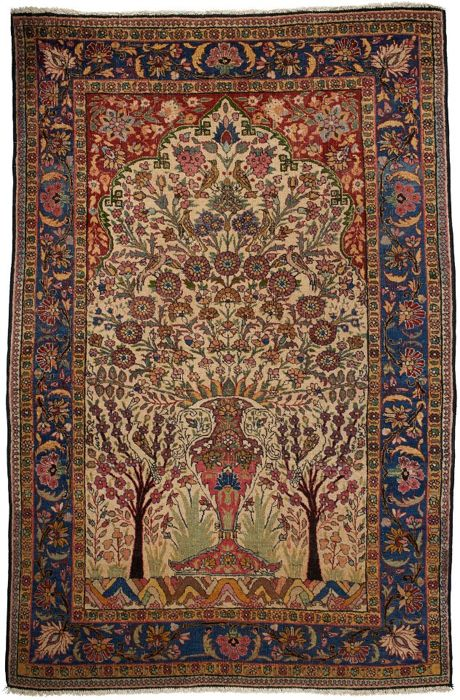 Dorokhsh Persian Rug - very old - dimensions: 205 x 135 cm - hand-knotted - museum piece - with Certificate of Authenticity from an expert appraiser - (Galleriafarah1970)