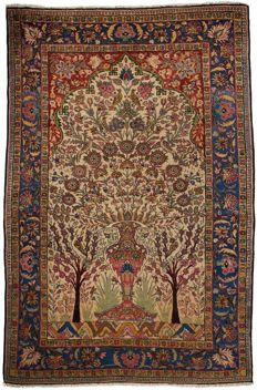 Dorokhsh Persian Rug - very old - 205 x 135 cm - hand-knotted - museum piece - with certificate of authenticity from an expert appraiser - (2463 Galleriafarah1970)